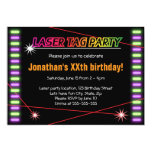 Laser tag birthday party cool black 5x7 paper invitation card