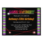 Laser tag birthday party cool black 4.5x6.25 paper invitation card