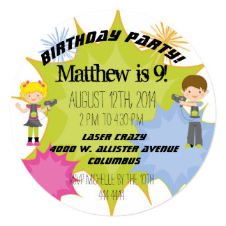 Laser Tag Birthday Party Customized Circle Invite
