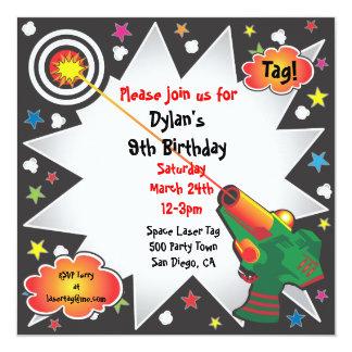 "Laser Tag Birthday Party Invitation 5.25"" Square Invitation Card"