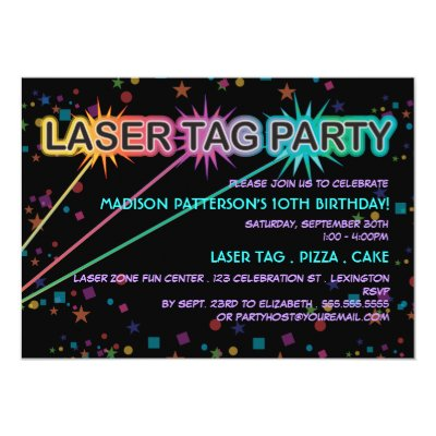 laser tag kids birthday party invitations | zazzle, Party invitations