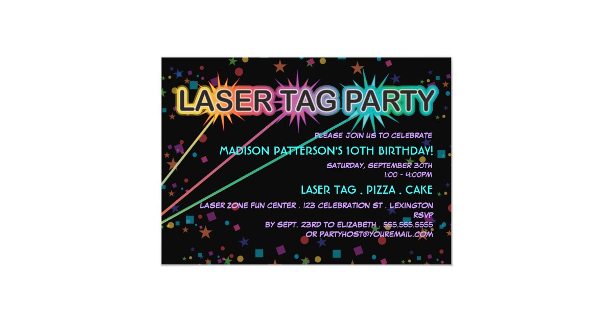 Laser Tag Birthday Party Invitation Zazzle Com