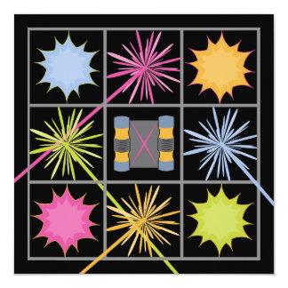 "Laser Tag Birthday Party Invitations 5.25"" Square Invitation Card"