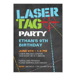Laser Tag Birthday Invitations Zazzle