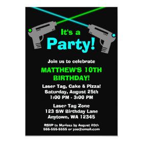 Laser Tag Blue Green Birthday Party Invitations 5