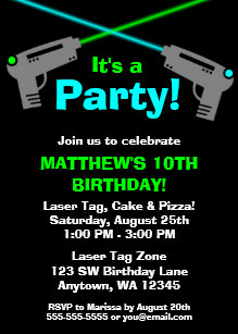 Laser tag birthday invitations announcements zazzle laser tag blue green birthday party invitations stopboris Choice Image
