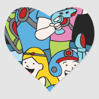 Laser Tag Family Party Cartoon People Heart Sticker