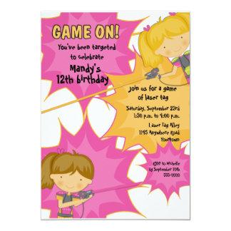 "Laser Tag Girls Birthday Invitation 5"" X 7"" Invitation Card"