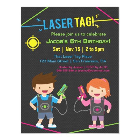 Laser Tag Kids Birthday Party Invitations Zazzlecom