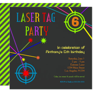 Laser Tag Birthday Invitations Announcements Zazzle
