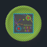 """Laser Tag Party Birthday Plates<br><div class=""""desc"""">Lasers are zinging around tagging the targets in all colors of the rainbow.  Birthday particulars are in coordinating colors on a dark grey background.  Fun and festive party products that are sure to please boys and girls alike.</div>"""