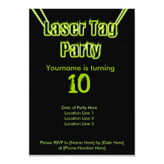 Laser Tag Party Green Invitation