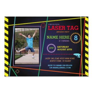 Laser Tag Photo Birthday Neon Invitation