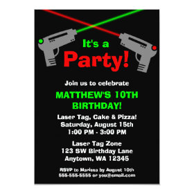Laser Tag Red Green Birthday Party Invitations 5