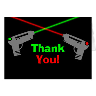 Laser Tag Red Green Thank You Stationery Note Card
