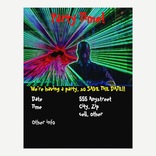 Lasers on DJ party flyer