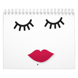 Lash and Red Lip Sweet Girl Portrait Calendar