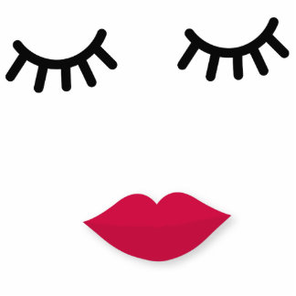 Lash and Red Lip Sweet Girl Portrait Cutout