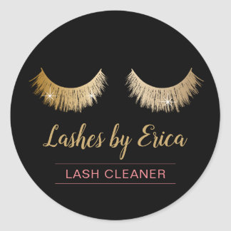 Lash Cleaner Modern Faux Gold Eyelash Extensions Classic Round Sticker