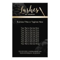 Lashed Makeup Artist Black Floral Beauty Salon Flyer