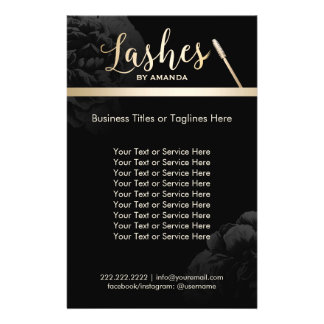Lashed Makeup Artist Black Floral Beauty Salon Flyer
