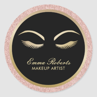 Lashes & Brow Makeup Artist Modern Rose Gold Salon Classic Round Sticker