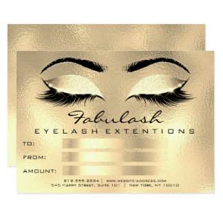 Lashes Browns Gold Makeup Artist Certificate Gift Card