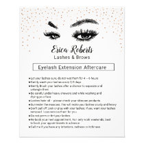 Lashes & Brows Eyelash Aftercare Instruction Flyer