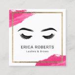 "Lashes &amp; Brows Makeup Artist Modern Beauty Salon Square Business Card<br><div class=""desc"">Lashes &amp; Brows Makeup Artist Red Lipstick Stain Gold Framed Beauty Salon Business Cards.</div>"