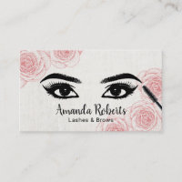Lashes Brows Salon Typography Vintage Floral Business Card