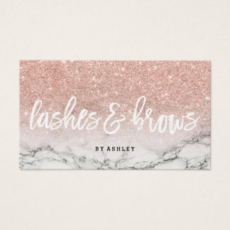 Lashes brows typography rose gold glitter marble business card