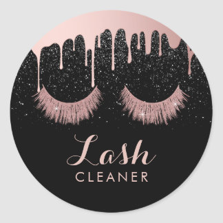 Lashes Cleaner Modern Rose Gold Dripping eyelash Classic Round Sticker