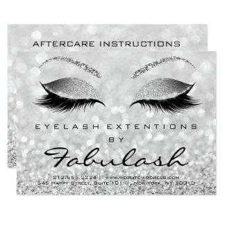 Lashes Extension Aftercare Instruction Gray Gliter Card