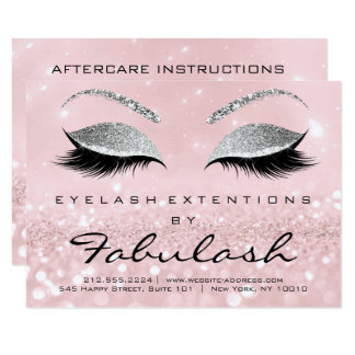 Lashes Extension Aftercare Instruction Pink Gliter Card