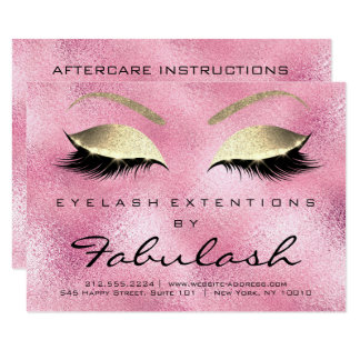 Lashes Extension Aftercare Instruction Pink Rose Card