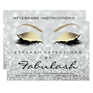 Lashes Extension Aftercare Instruction Silver Gold Card