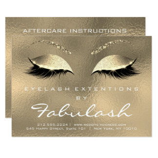 Lashes Extension Aftercare Instruction White Gold Card