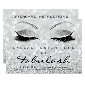Lashes Extension Aftercare Instruction Wow Gliter Card