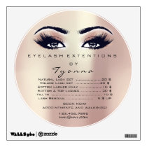Lashes Extension Studio Rose Gold Price List Round Wall Decal