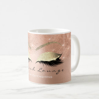 Lashes Extention Beauty Studio Pink Gold Glitter Coffee Mug