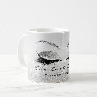 Lashes Extention Beauty Studio Silver Gray Glitter Coffee Mug