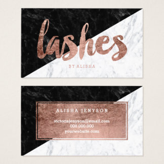 Lashes eye block faux rose gold typography marble business card