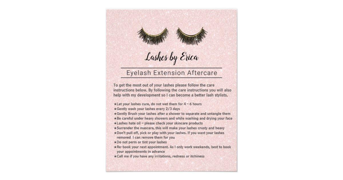 Lashes Eyelash Extensions Aftercare Instruction Flyer Zazzle