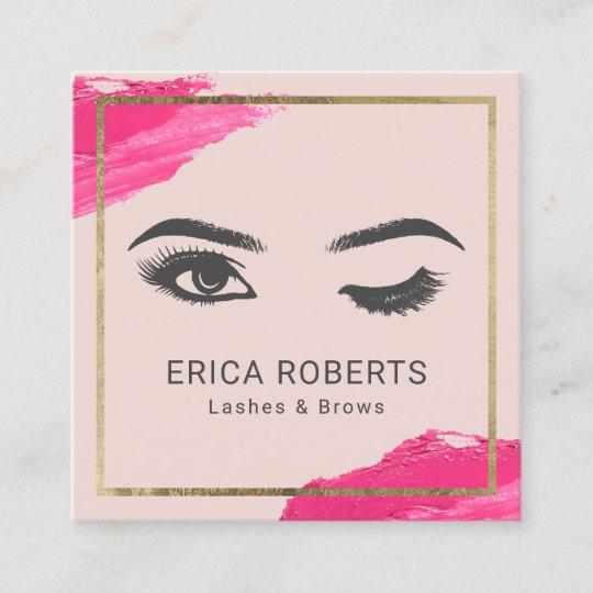 fc6f6970d9c8 Lashes Eyelash Makeup Artist Wink Eye Beauty Blush Square Business Card