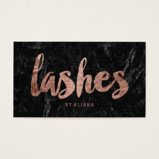 Lashes faux rose gold typography black marble business card