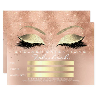 Lashes Glitter Rose Gold Makeup Certificate Gift Card