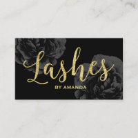 Lashes Gold Script Elegant Black Floral Business Card