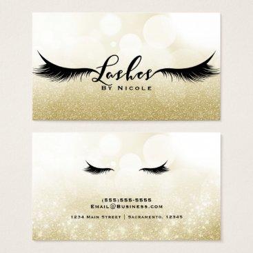 printabledigidesigns Lashes Gold Sparkle Glamour Eyelashes Chic Makeup Business Card