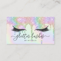 Lashes holographic unicorn glitter drips makeup business card