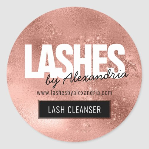 Lashes Lash Cleaner Rose Gold Sparkle Glitter Name Classic Round Sticker